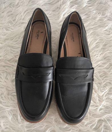 Sapatos plataforma pull&bear pretos pele
