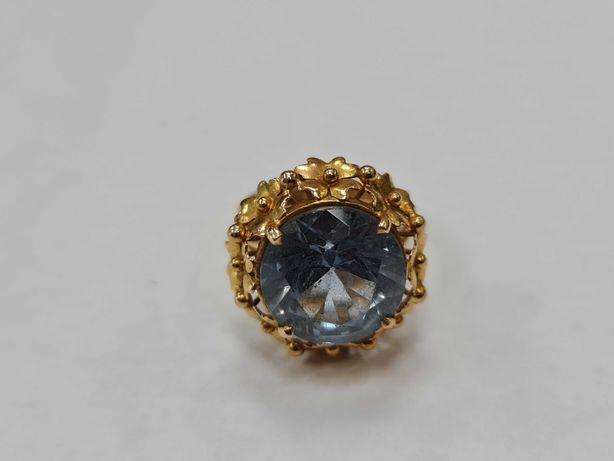 Wyjątkowy złoty pierścionek damski/ 750/ 7.48 gram/ R14/ Akwamaryna