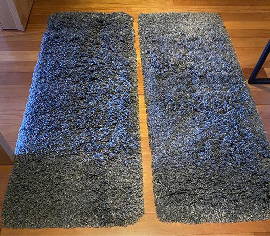 2 tapetes quarto, cinza escuro, pêlo comprido, Gåser (IKEA)