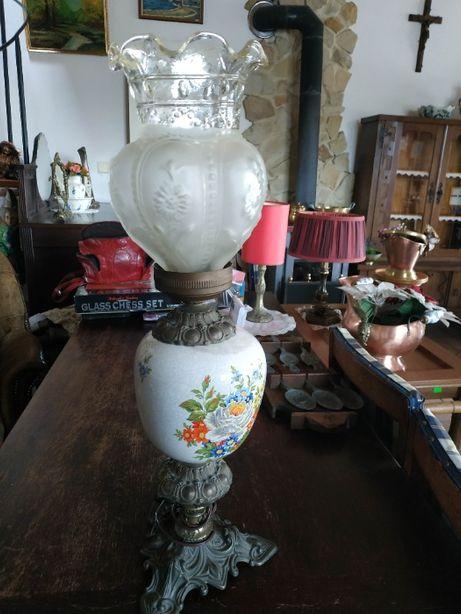 Bardzo ładna lampa mosiądz + porcelana + szkło