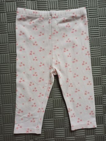 Spodnie 3-6 miesiac 62-68 kwiatki leginsy getry różowe mieciutkie