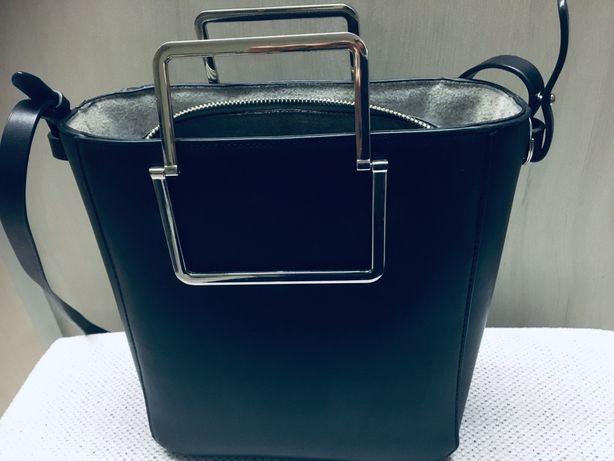 Torebka kuferek Zara metalowe rączki klasyczna mieści A5