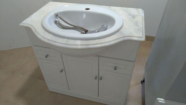 Móvel wc + espelho lacado branco