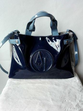 Torebka torba shopper Armani Jeans granatowa niebieska szara A4