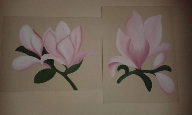Telas orquídeas em acrílico