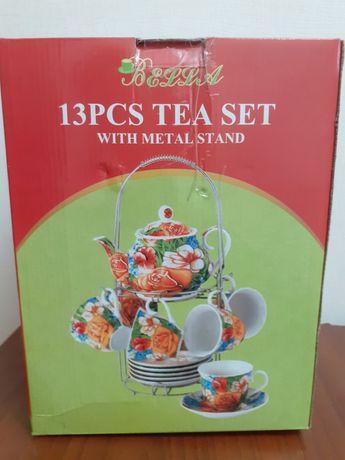 Чайный сервиз на 6 персон с металлической  подставкой