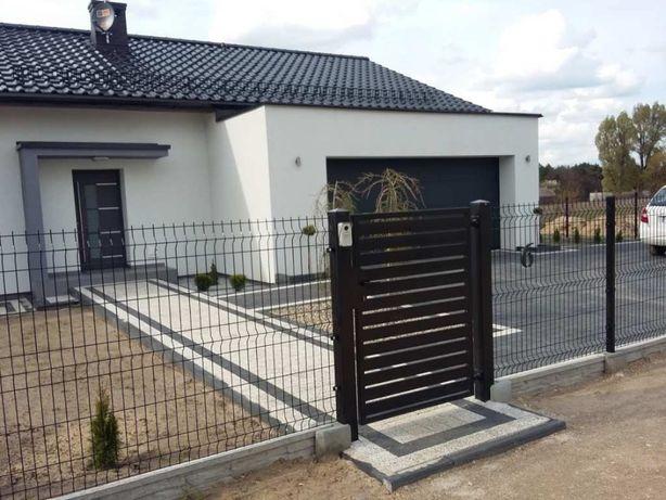 Ogrodzenie panelowe 173cm,4mm,czarne + podmurówka, ogrodzenia słupki