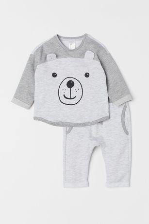 Теплый красивый комплект H&M (Англия) костюм для мальчика 9-12 мес