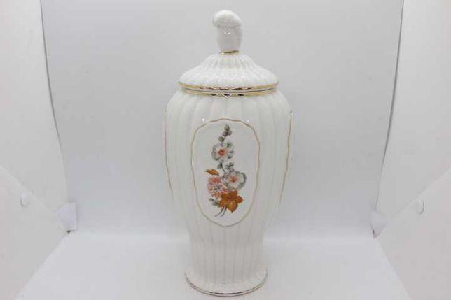 Pote com tampa Vista Alegre floral filetes ouro 1924 RARA 30 cm