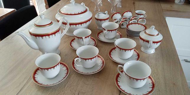 Zestaw do kawy i herbaty 6 os. włoska porcelana bone gratis waza