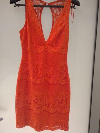 Zara Koralowa sukienka koronka