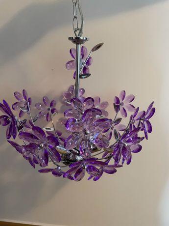 Lampa wisząca typu globo, kryształki w formie kwiatków, 3xE14
