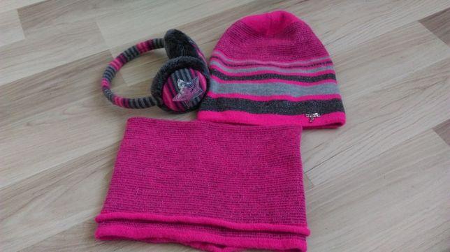 Komplet zimowy czapka 23 cm, komin, nauszniki smyk, 6-7lat
