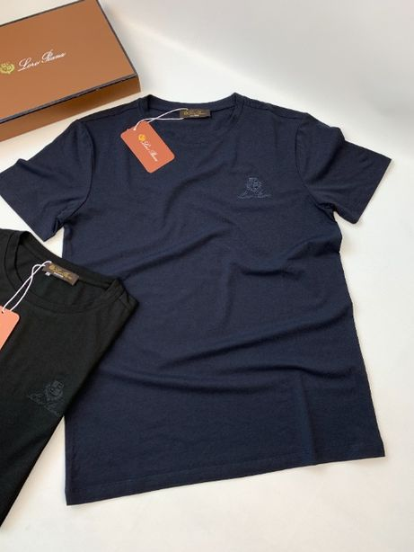 Мужская синяя футболка с вышивкой хлопок коттон хб Loro Piana f459