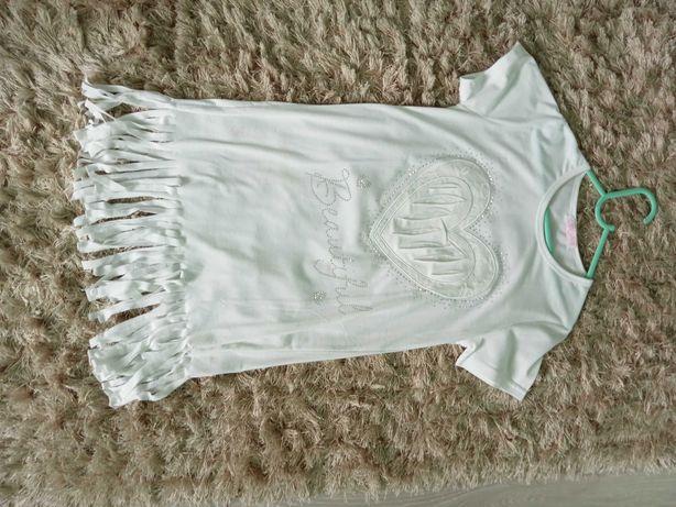 Sukienka biała, bawełniana rozm 146