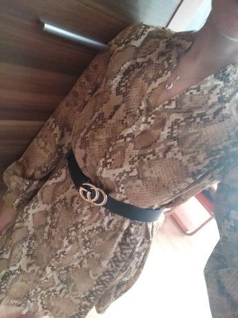 Koszula tunika sukienka wężowa H&M S
