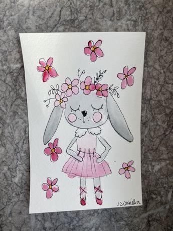 Kartka okolicznościowa królik kwiaty tutu urodziny chrzciny roczek