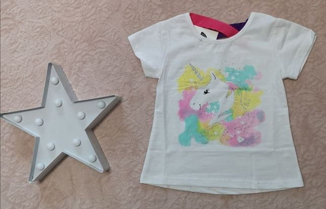 Nowa z metką Koszulka bluzka bawełniana jednorożec unicorn 110/116