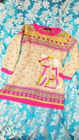Теплое зимнее платье 4-5 лет