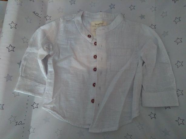 Koszula chłopięca lniana 62 biała