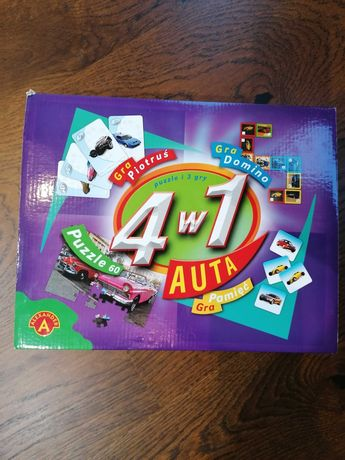 Gra Auta 4w1: Puzzle 60, domino, pamięć, Piotruś