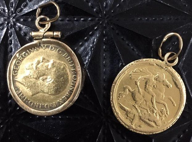 Libra meia libra ouro fio (medalha pendurar moldura /aro) antiga