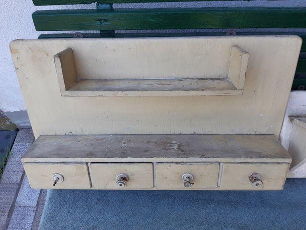 Stara drewniana szafka, półka wisząca PRL