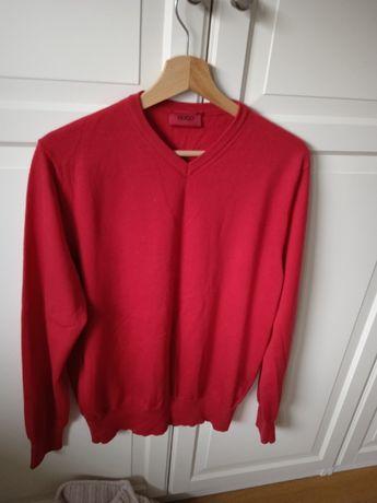 Hubo Boss sweter męski czerwony cienki rozmiar L