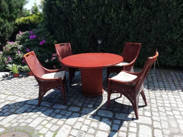 Komplet stół z 4 krzesłami wiklinowe bambus