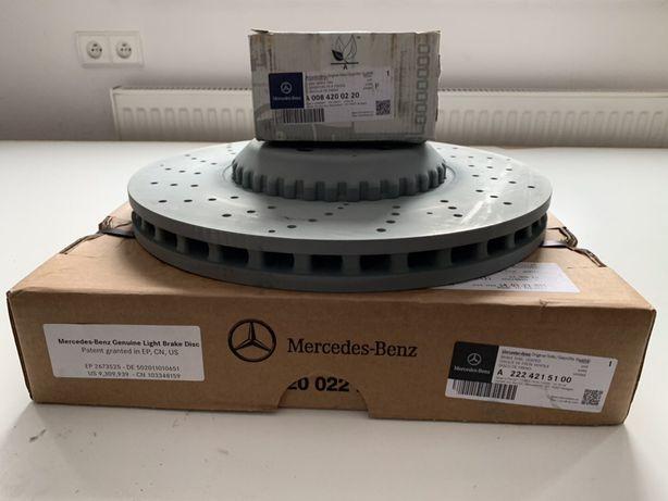 Mercedes S 4Matic. W222 tarcze klocki przod. Oryginalne nowe.