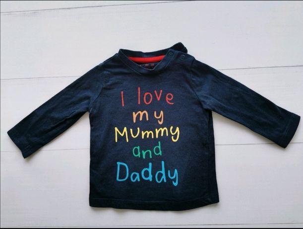 F&f/bluzka długi rękaw /granatowa/0-3 mc/i love mummy and daddy