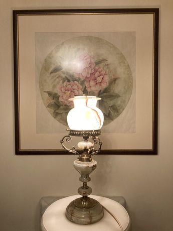 lampa stołowa onyks i mosiądz antyk art deco nocna
