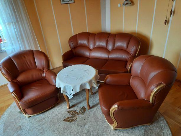 Kanapa z funkcją spania komplet wypoczynek fotele