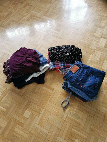 Karton markowych ubrań - Levis, H&M, Zara, GAP, Promod, Reserved