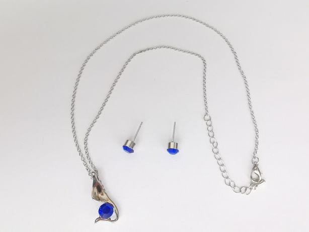 Naszyjnik i kolczyki zestaw srebrny z niebieskim kamieniem NOWE