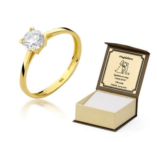Grawer Piękny Złoty Pierścionek 585 z Cyrkonią Zaręczynowy 14k prezent