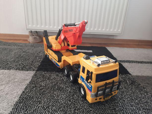 Zabawka ciężarówka przyczepa koparka