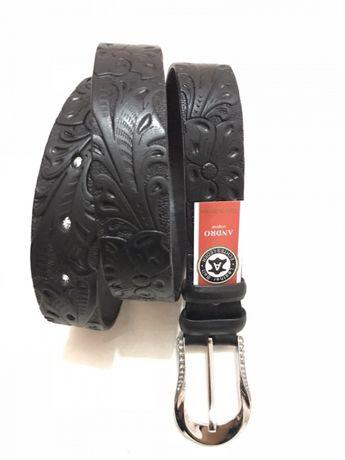 Ремень женский кожаный классика тату цветок черный 3.5 см.