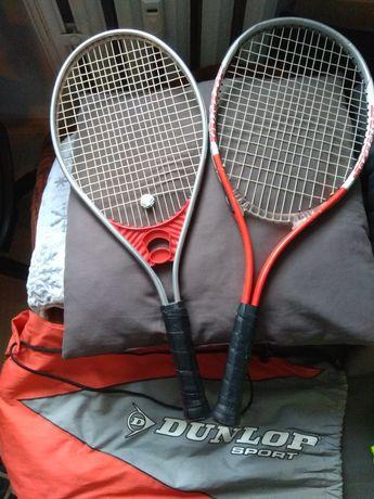 Dwie rakiety tenisowe Dunlop z pokrowcem
