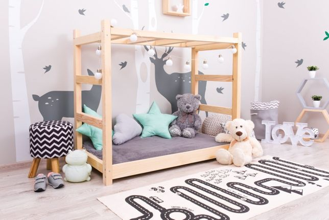 Nowe łóżko domek skandynawski, dziecięce, JUNGLE NATURALNE
