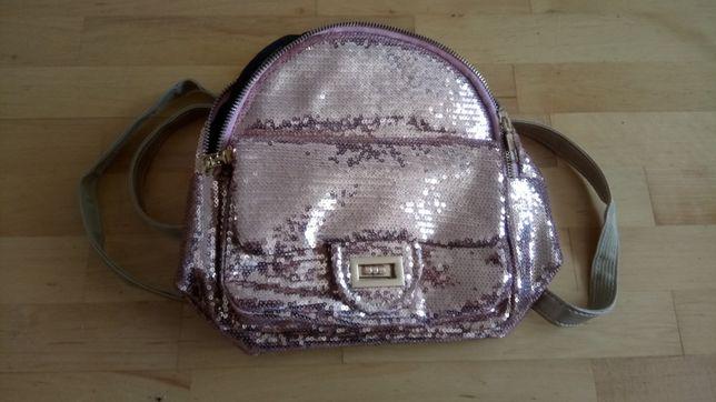 Cekinowy plecak różowe złoto jak nowy