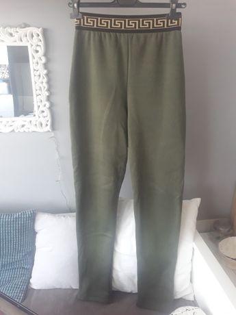 spodnie na gumce legginsy ocieplane wysoki stan M/L zielone khaki