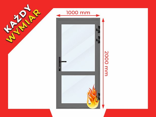 Drzwi Przeciwpożarowe PPOŻ EI30 Aluminiowe Każdy Wymiar