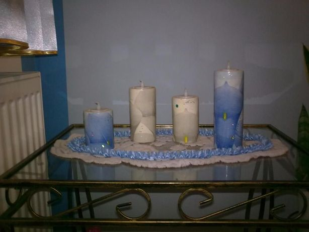 Komplet świeczników decoupage, świeczniki, candle light w komplecie