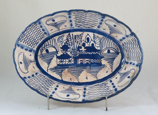 Travessa funda+oval em faiança de Coimbra decoração Cantão; 30cm