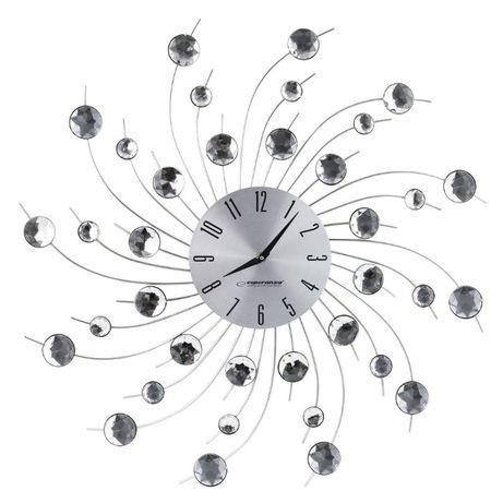 Piękny Zegar Ścienny Geneva Kryształ (akryl) Stal Aluminium Srebrny