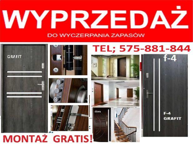 Drzwi do mieszkania wejściowe ZEWNĘTRZNE z montażem-drewniane-metalowe