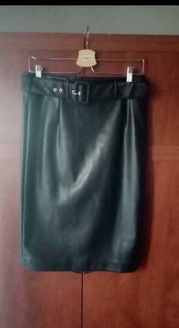 Skórzana spódnica z wysokim stanem Mohito