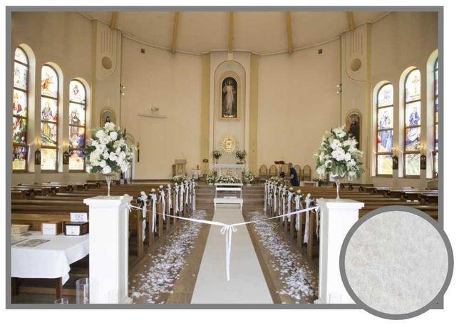Wykładzina Biała Dywan chodnik na ślub z podkładem PLAT 1m