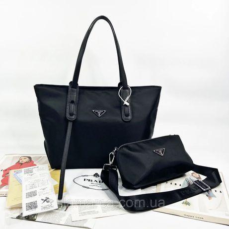 Женская сумка на и через плечо Prada 2 в 1 Прада жіноча сумочка чёрная